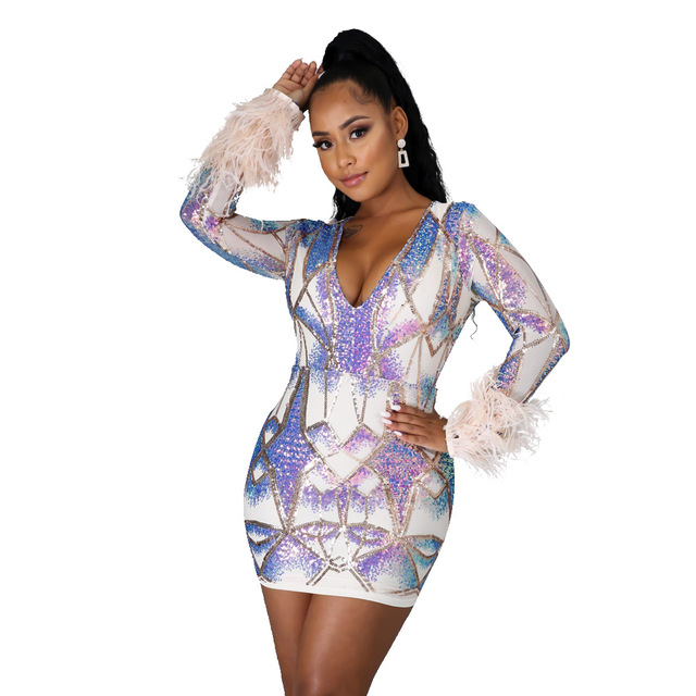 2020 Autumn And Winter Sexy Colorful Sequins Deep V Dress Party Dance Nightclub Color Shiny Perspective Tight Dress With Feathe 2