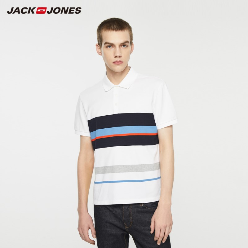 JackJones Men's Stretch Cotton Striped Turn-down Collar Short-sleeved Polo-shirt Style 219206517