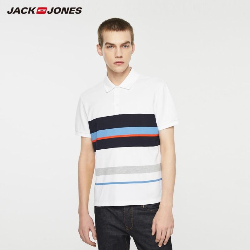 JackJones Men's Stretch Cotton Striped Turn-down Collar Short-sleeved Polo-shirt Style 219206517