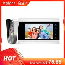 JeaTone جديد 7 بوصة جرس باب يتضمن شاشة عرض فيديو مراقب إنترفون مع 1200TVL كاميرا خارجية IP65 باب نظام الهاتف ، السفينة من الروسية