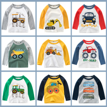 цена на Boys  T Shirt Long Sleeves Kids Girls Cotton Tops Children Baby Cars Print Cartoon Clothing Tee Toddler Clothes Infant Avengers