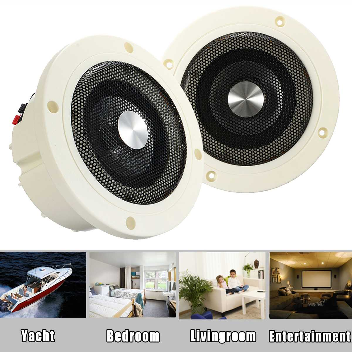 Pair 30W Waterproof Ceiling Speakers Boat ATV UTV Marine Stereo Audio Speakers Indoor Outdoor music player(China)
