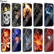 Creative Case Glass For Huawei P30 P10 P20 P Smart Mate 20 Pro Lite Y6 Y9 Honor 7A 8X 9 10 Cover(China)