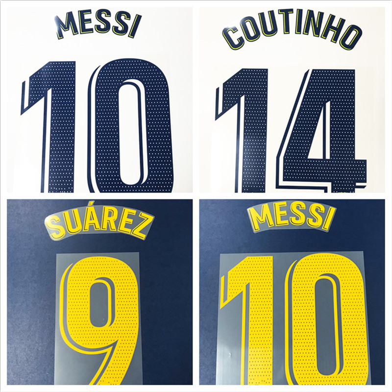 New 1819 Messi Suarez Dembele Coutinho A.Iniesta MALCOM VIDAL I.RAKITIC PIQUE Numberint Customize Number Stamping Patches Badges
