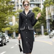 SEQINYY Elegant Knee Dress 2020 Autumn Winter New Fashion Design High Quality Crystal Sheath Slim Black Women