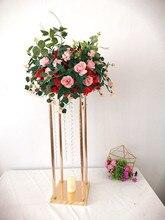 Blume Vase Gold Spalte Stehen Metall Straße Führen Hochzeit Mittelpunkt Blume Rack Für Event Party Dekoration 10 TEILE/LOS