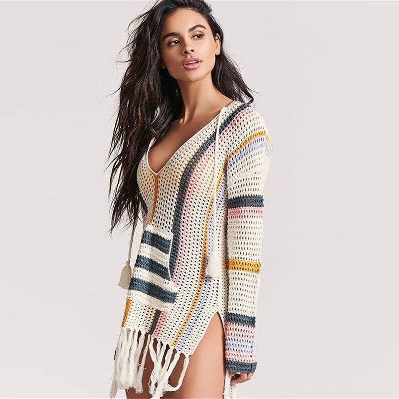 New Style Knitted Tassled Porous Striped Beach Skirt Bikini Outer Blouse Sun Shirt