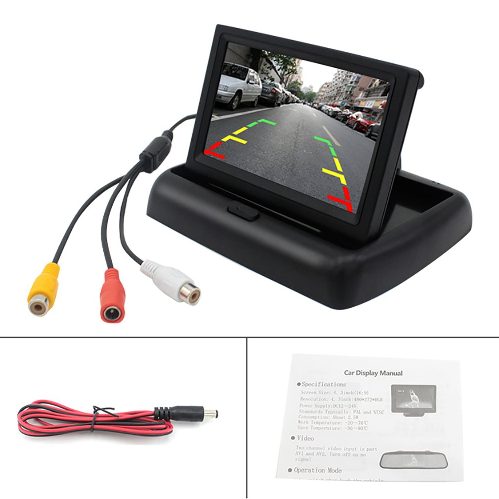 PZ704 4.3 Inch Hd Folding Display Two-way Av Video Input Reversing Priority Car Display
