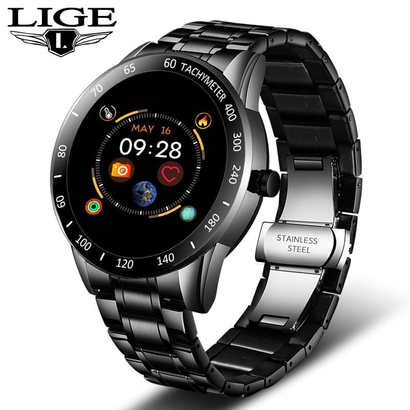 ליגע פלדה בנד חכם שעון גברים קצב לב לחץ דם צג ספורט משולב מצב כושר גשש עמיד למים Smartwatch