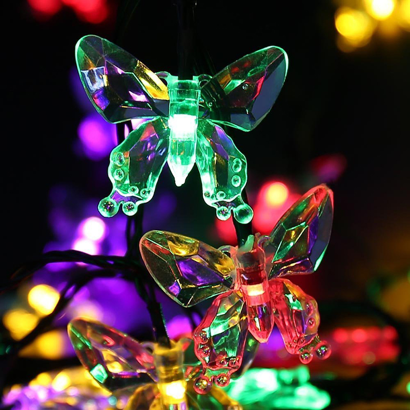 LED Solar Lamp Butterfly Shape Outdoor Waterproof Fairy Garland Lights String Christmas Wedding Garden Solar Light Decoration
