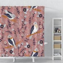 Занавеска для душа с принтом птиц и цветов ванной водонепроницаемая