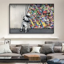 Customed Size 100x150cm Kids Behind The Curtain Graffiti Art Painitngs on the Wall Art Posters and Print for Home Decor No Frame