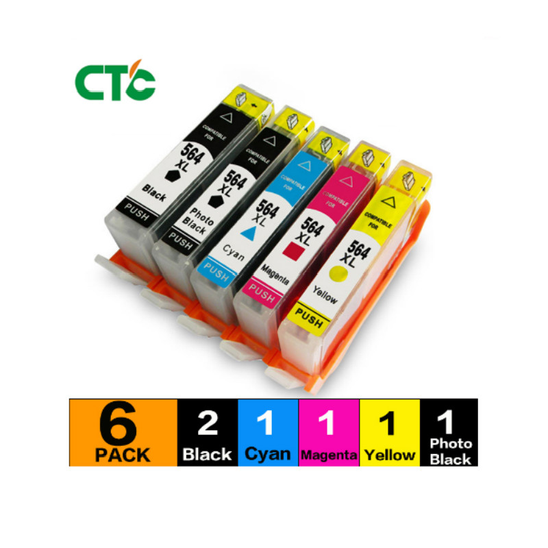 6PCS compatible for <font><b>564</b></font> <font><b>XL</b></font> with chip Ink cartridge Photosmart B209a B210a B210b B210c B210d B210e Inkjet Cartridge image