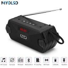 Altavoz Portátil con Bluetooth, columna de altavoces de Bajo inalámbrico con USB para exteriores, Radio FM, AUX, TF, MP3, Subwoofer, para teléfono y PC
