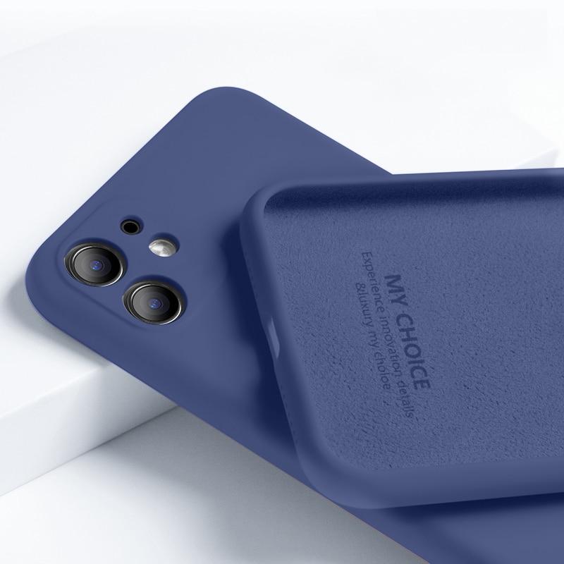 Чехол для телефона iPhone 11 12 Pro, чехол из жидкого силикона, роскошный оригинальный противоударный мягкий чехол для iPhone 7 6 6S 8 Plus X XR XS Max