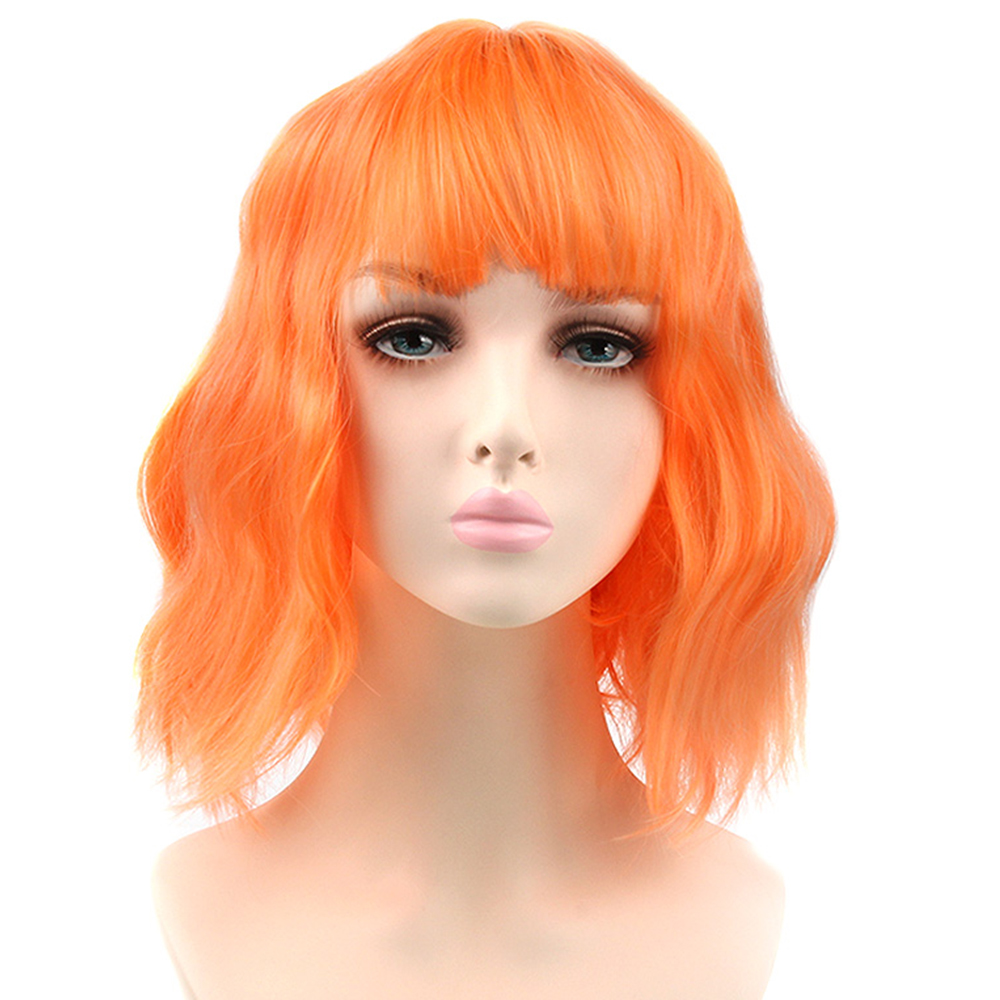 Pageup Orange Short Wave Synthetic Wig For White/Black Women Purple Brown Wigs With Bangs Hair Extension Wigs thumbnail