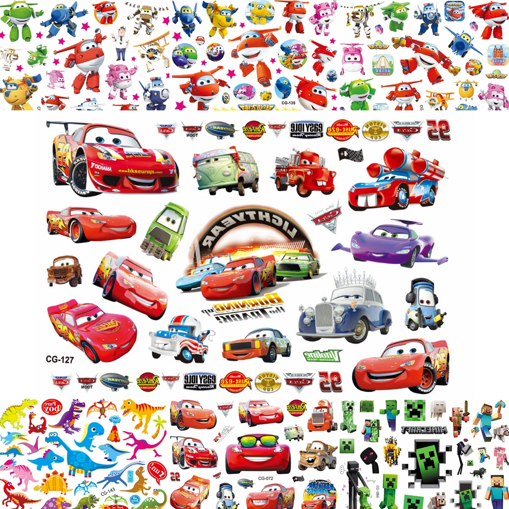 Cartoon Red Racing Cars Flash Temporary Tattoo Sticker For Boys Birthday Gift Fake Tattoos Waterproof Kids Child Body Art Tatoos