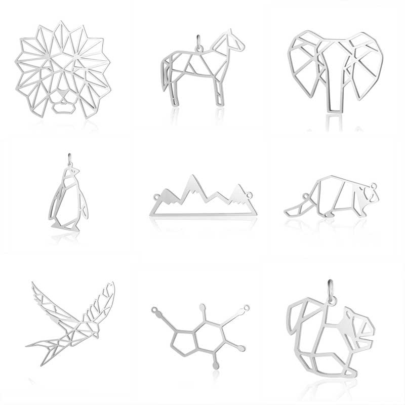 10 pièces en acier inoxydable matériel couleur argent simple animal cheval éléphant breloques pour colliers pendentif pour bijoux à bricoler soi-même faisant