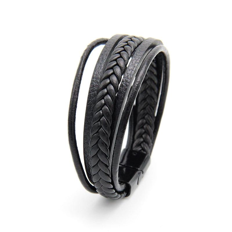 Мужской браслет, многослойный кожаный браслет с магнитной застежкой, Воловья кожа, плетеный многослойный браслет, модный браслет на руку, pulsera hombre - Окраска металла: Black and Black