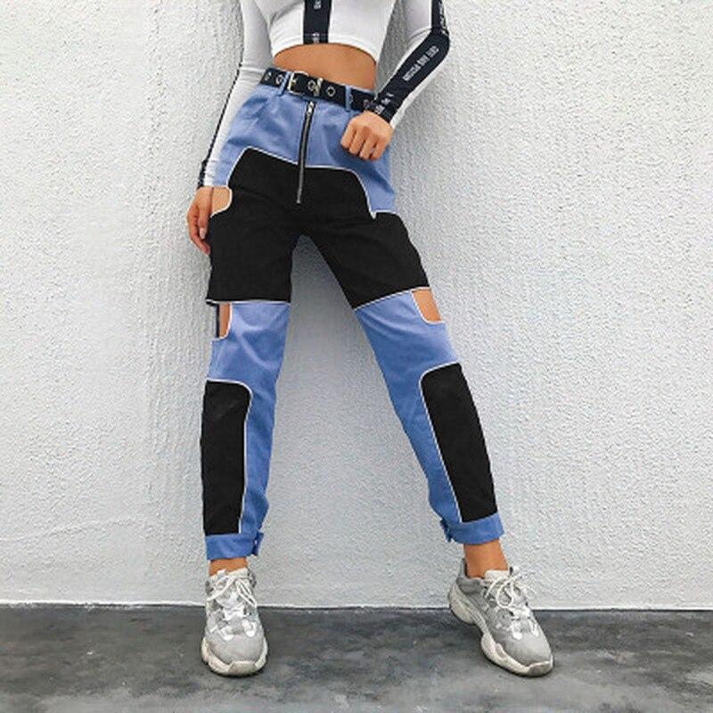 Deeptown Harajuku Cargo Pants Women Hollow Out Patchwork Sweatpants Hip Hop Trousers High Waist Pants Streetwear Ladies Joggers