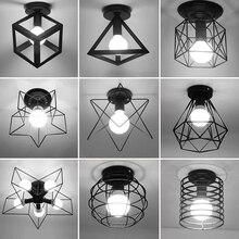 בציר תקרת אורות זוהר Luminaria Led תקרת מנורת לופט ברזל כלוב גופי Abajur בית תאורה Plafonnier לסלון
