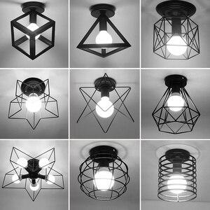 Image 1 - Vintage Ceiling Lights Lustre Luminaria Led Ceiling Lamp Loft Iron Cage Fixtures Abajur Home Lighting Plafonnier For Living Room