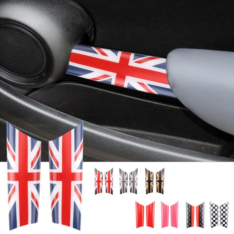 2 pçs interior maçaneta da porta decalques capas para mini cooper r55 r56 r57 r58 para mini clubman r55 r56 estilo do carro acessórios etiqueta