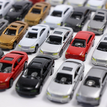 10/50pcs 1:75 1:87 Model Car for DIY Sand Table Building Model Scale Simulation Plastic Mini Car Plastic image