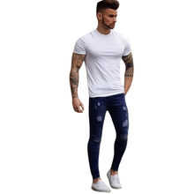 Mens Ripped Jeans for men Casual Black Blue Skinny slim Fit Denim Pants Biker Hip Hop Jeans with sexy Holel Denim Pants(China)
