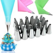 24Pcs/set Cake Decorating Mouth Set With EVA Silicone Bag Baking Tool Piping Tips /