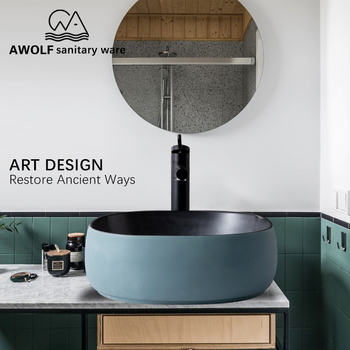 Art Sinks Haze Matte blue Bathroom Washing Basin Bowl Ceramic Vessel Above Counter Lavatary Balcony Basin Sink AM922 kemaidi new arrival bathroom faucet round paint golden bowl sinks vessel basins washbasin ceramic basin sink