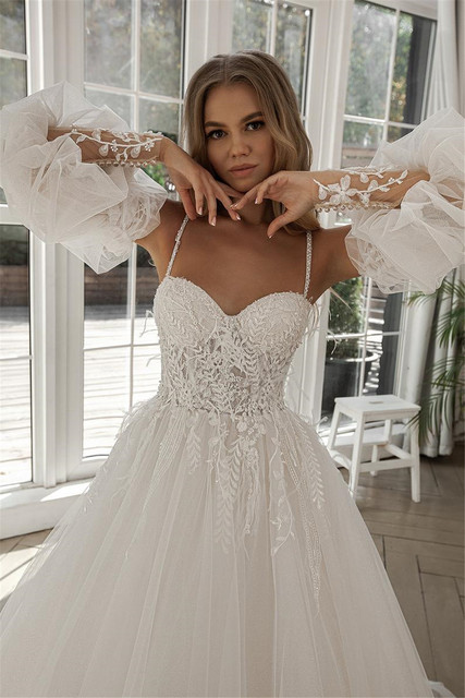 A-line Beach Wedding Dress Long Puff Sleeve Lace Bridal Gown Feathers Custom Made Princess Wedding Party Gowns Boho Plus Size 5