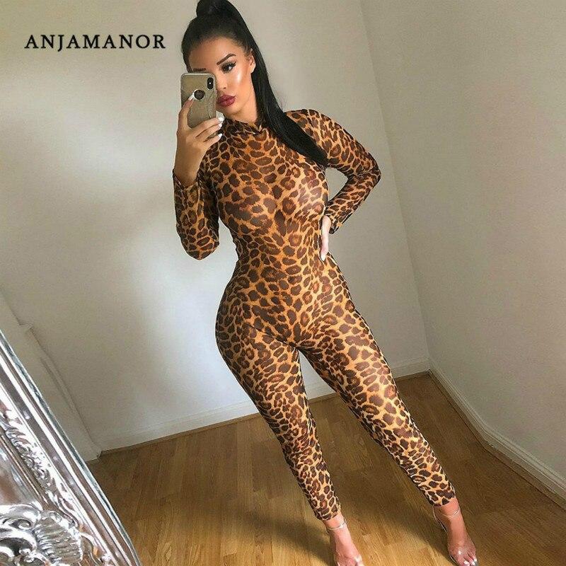 ANJAMANOR Cheetah Animal Print Sheer Mesh Sexy Jumpsuit Clubwear Costumes Fall 2019 Long Sleeve Bodycon One Piece Romper D54AA33