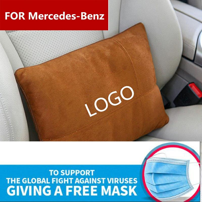 Suede Fabric Car Seat Back Waist Pillow Lumbar Support Rest Pillow For Mercedes-Benz AMG W204 W210 W220 W212 C200 A210 880