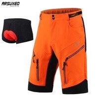 ARSUXEO Mountain Bike Cycling Shorts Men DH MTB Downhill Shorts Loose Fit Optional 3D Padded Underwear цены онлайн