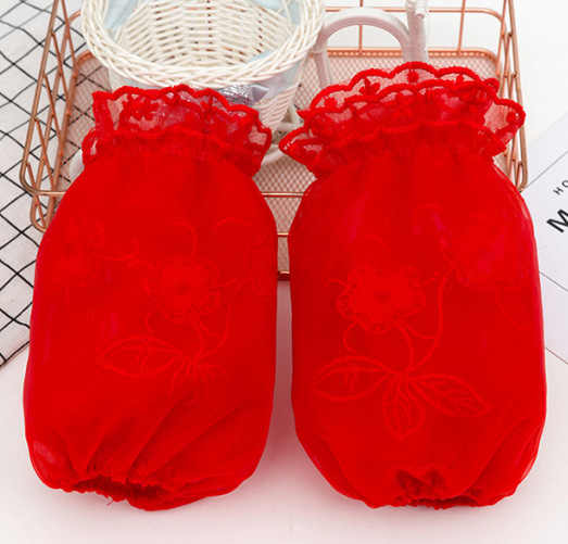 Bright Red Cuff Women's Short White Autumn And Winter Lace Antifouling Oversleeve Students Down Jacket Work Office Sleeves