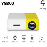 YG300 LED Projector 320x240 Pixels 600 Lumens 3.5mm Audio HDMI TF Card Slot USB YG300 Mini Projector Home Theater Media Player