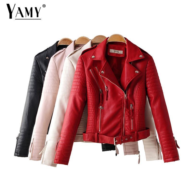Jaqueta de motoqueiro de couro vermelho mulher negra gamulan mujer turn down gola do casaco com mangas de couro com zíper jaqueta de couro