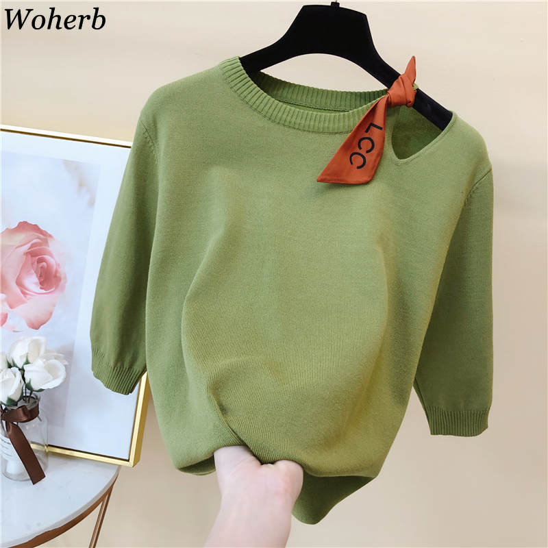 Woherb Spring Summer New Korean Women Pullover Sweater Hollow Out Fashion Knitted Half Sleeve Jumper Top Soft Female Sweaters