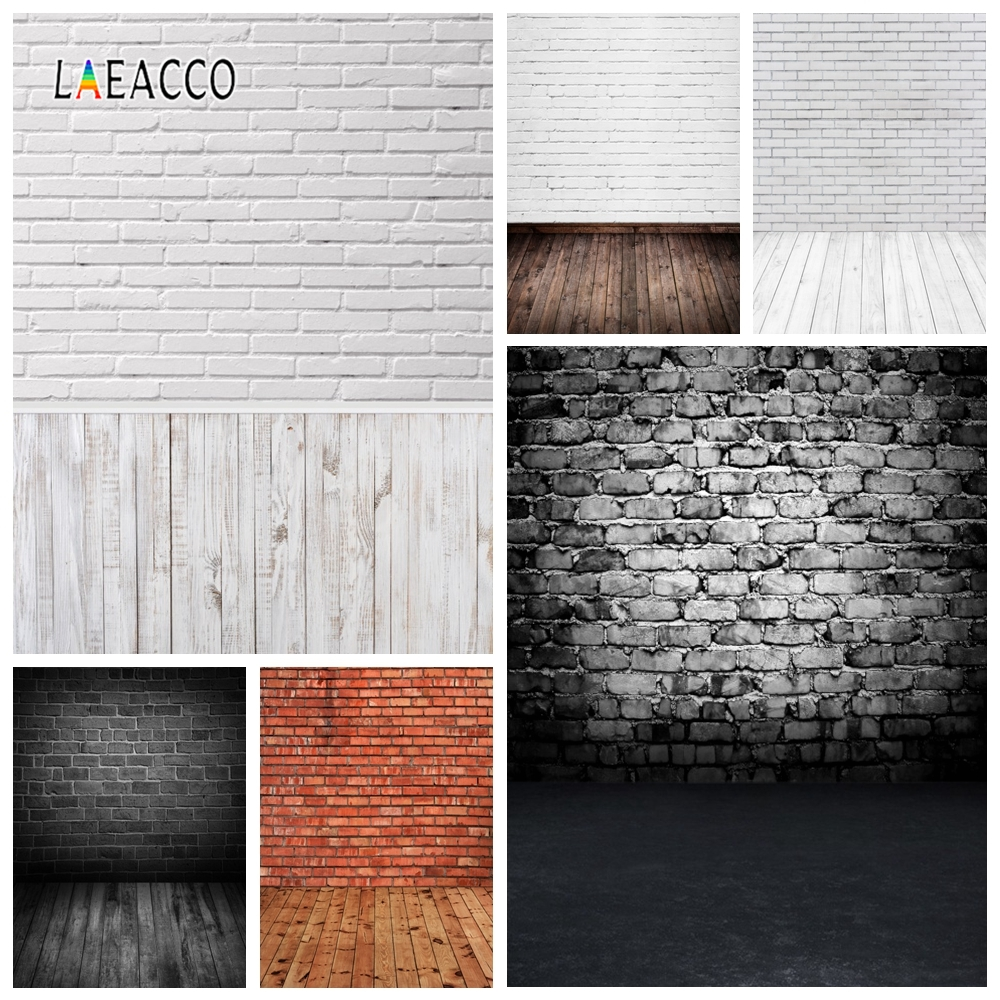 Grunge Old Dark White Brick Wall Wooden Floor Photo Background Pet Doll Baby Portrait Photo Backdrops Photocall For Photo Studio