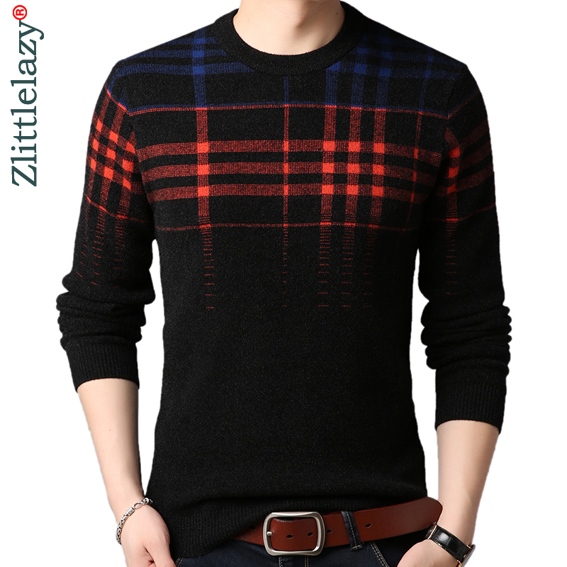 2019 Brand Thick Warm Winter Plaid Knitted Pull Sweater Men Wear Jersey Mens Pullover Knit Mens Sweaters Male Fashions 90339