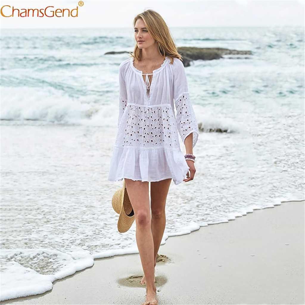 Sexy traje de baño de playa de verano cubrir el Vestido de playa de lentejuelas bordadas 2020 traje de baño de mujer traje de baño Vestido de playa cubierta U