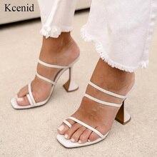 Kcenid chinelos femininos 2020 verão novo sexy dedo do pé aberto sandália flip flops chinelos moda estranha de salto alto sapatos faixa estreita