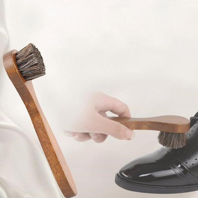 Handle Long Maple Brush Horse Hair Smooth Leather Shoes Special Cleaning Brush Shoes Brush Horse Hair 2