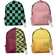 Demon Slayer: Kimetsu no Yaiba рюкзак Холщовая Сумка Kamado Tanjirou школьные сумки для девочек Mochila Feminina Nezuko сумка для ноутбука Косплей