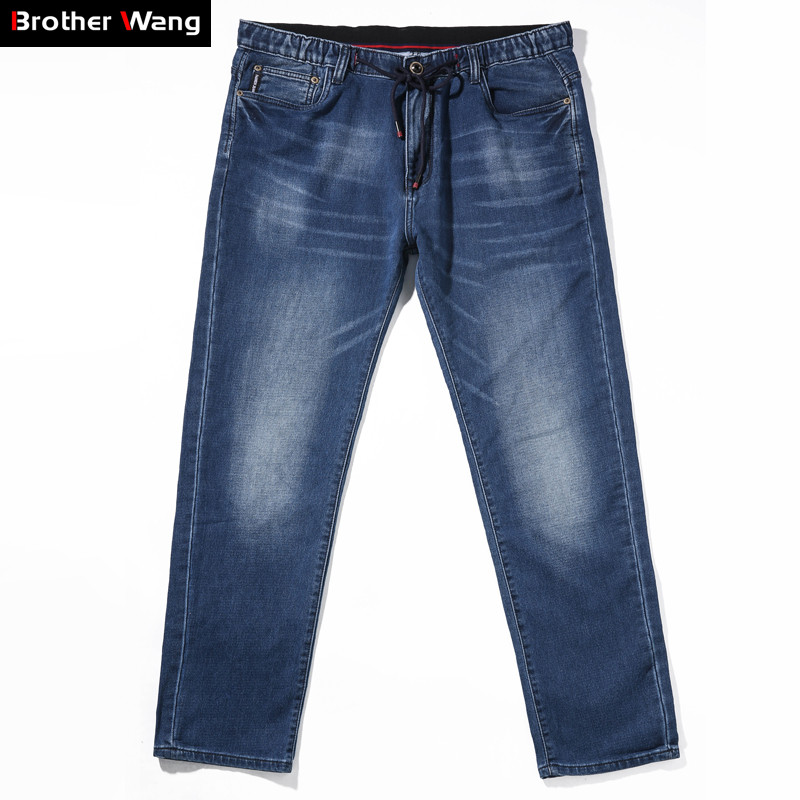2019 Autumn and Winter New Men's Stretch   Jeans   Fashion Casual Straight Pants Male Brand Trousers Plus Size 5XL 6XL 7XL