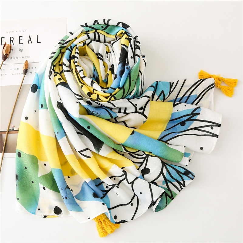KYQIAO new headband for women autumn winter Spain style fashion luxury brand long fruit pattern scarf шарф женский foulard femme