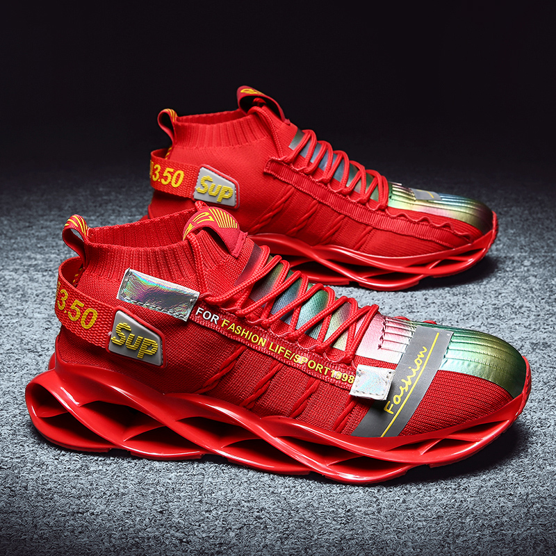 2020 Blade Running Shoes Men's Professional Athletic Sneakers Super Light Sport Walking Trendy Cushioning Athletic Shoes Red Sox