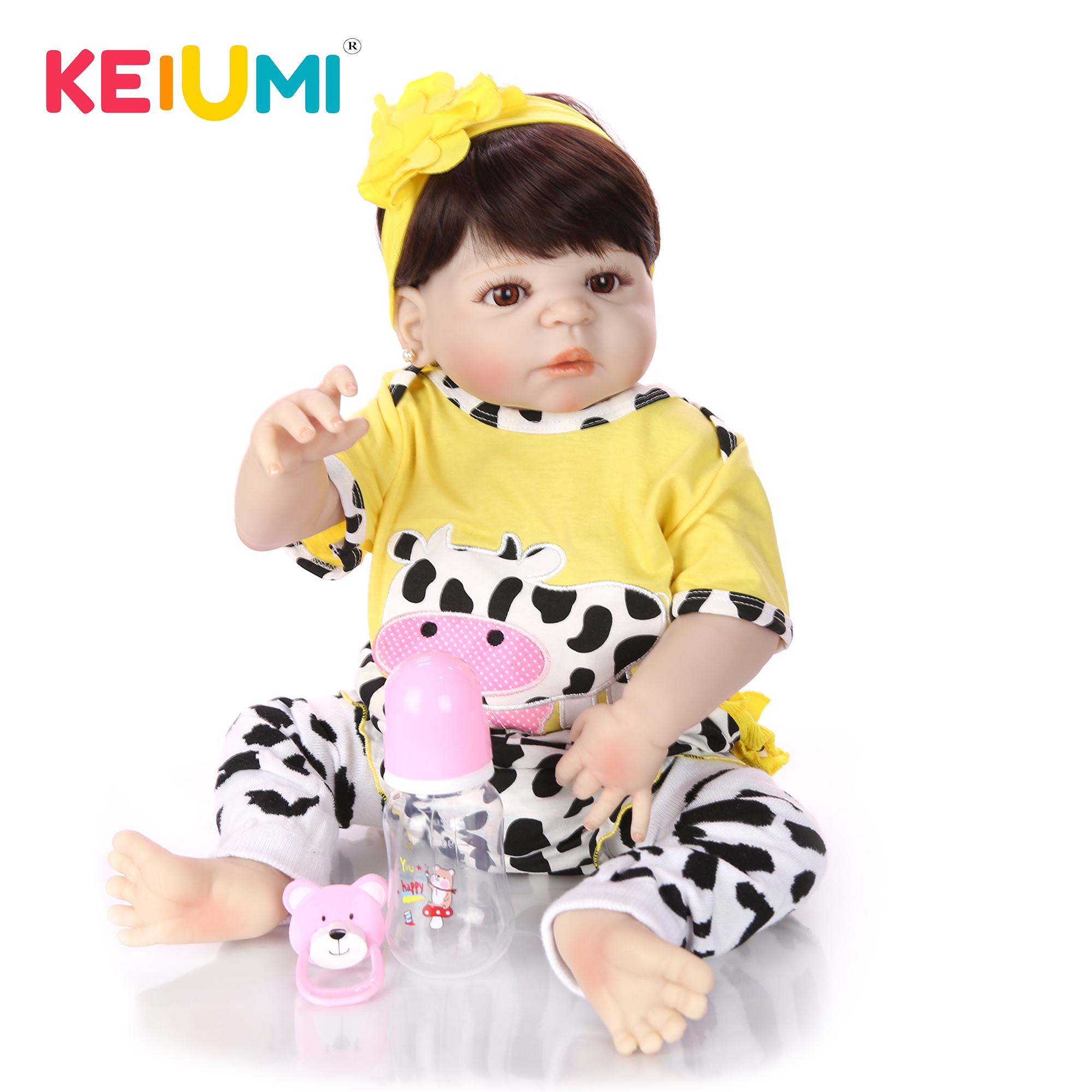 57 cm Reborn Baby Dolls Full Body Silicone 23 Lifelike Babies Doll Toy For Toddler Realistic