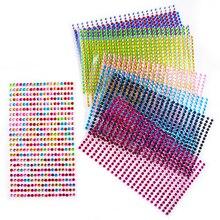 1500 pièces/ensemble 3mm Auto-Adhésif Acrylique Strass pour Téléphone PC Autocollant De Voiture Accessoires De Coiffure Art Diamant Scrapbooking Autocollants